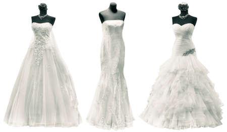 Drei Hochzeitskleid Isoliert mit Beschneidungspfad