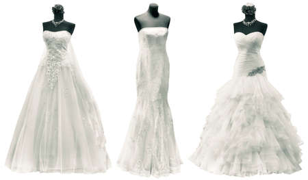 Three Wedding Dress Isolated with Clipping Path Stock Photo