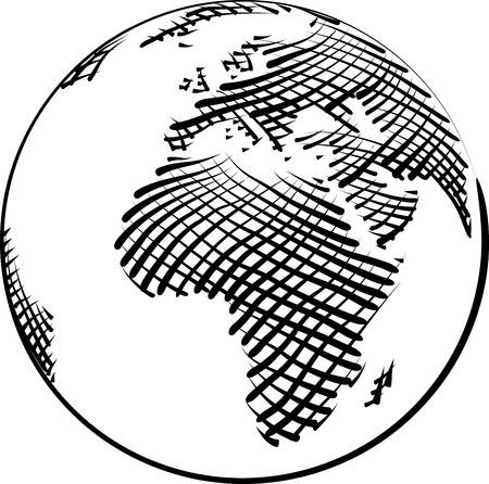 gravure: Vector Illustration of World Globe