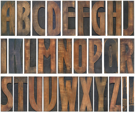 woodtype: Old Woodtype Capital Alphabet Letters Isolated