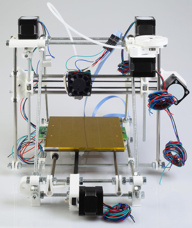 printer: Assembling the Open Source 3D Printer Device Stock Photo