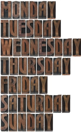 woodtype: Days of the Week in Printing Blocks Isolated on White