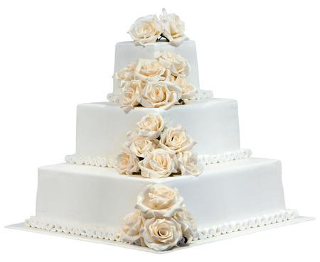 esküvő: White Wedding Cake elszigetelt Stock fotó