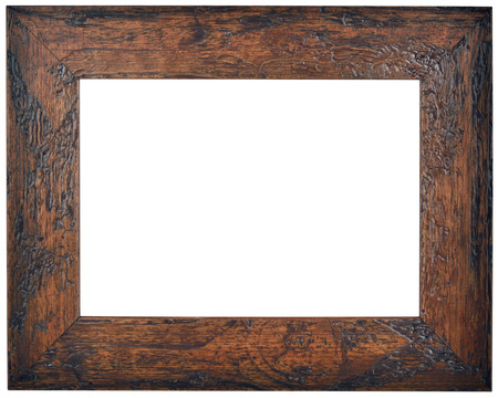 patina: Empty Brown Wooden Picture Frame Isolated