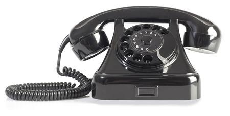 telephony: Old Rotary Phone Isolated on White Background Stock Photo