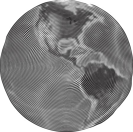 Guilloche Illustration of Earth Uzumaki stile illustration