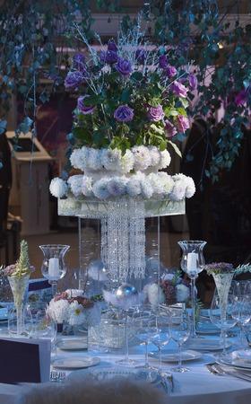 center table: Wedding Celebration Centerpiece Dinner Table