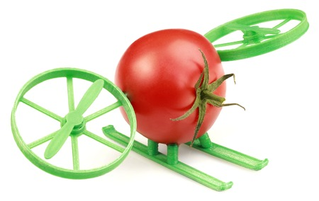 hovercraft: Conceptual Hovercraft Toy Made of Tomato and Plastic