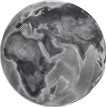 Guilloche Vector Illustration of Earth Uzumaki stile illustration