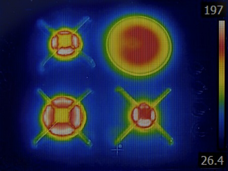 thermal image: Thermal Image of Burning Gas Stove Stock Photo