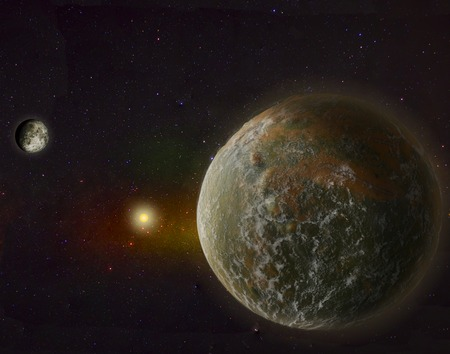hypothetical: Super Big Earth with Moon