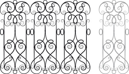 Modular Wrought Iron Railing or Fence Vector