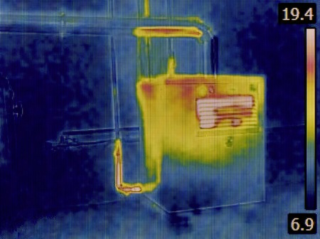 Thermal Image of a Heat Insulation of the Central Heating Furnace Tubes photo