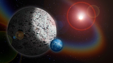 hypothetical: Icy Planet with Water Moon