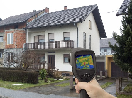 energy efficiency: Heat Leak Detection with Infrared Camera Stock Photo