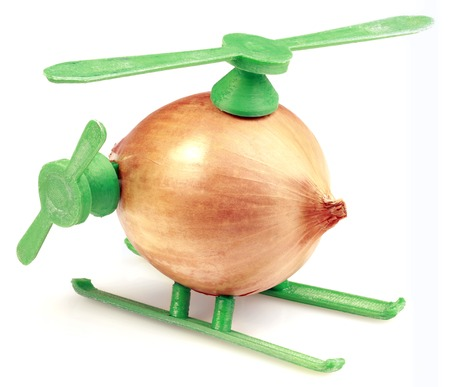 improvisation: Helicopter Toy Improvisation Made with Onion and Plastic