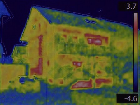 heat radiation: Thermal Image of the House Facade Stock Photo