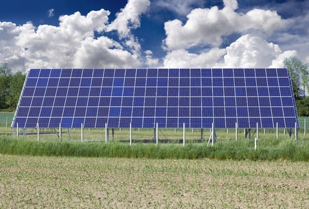 photocell: Photovoltaic Solar Panel on the Field Stock Photo