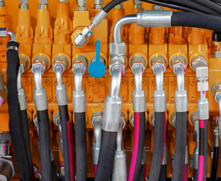 hydraulic hoses: Excavator Hydraulic Pressure Hoses System Stock Photo