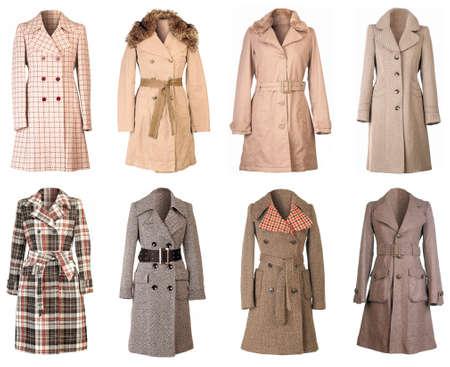 seasonable: Female Winter Woolen Coats Isolated on White Background Stock Photo