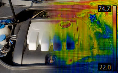 thermogram: Car Engine Thermal Imaging Infrared Stock Photo