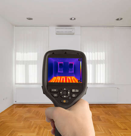 thermography: Thermal Imaging of Underfloor Heating Stock Photo