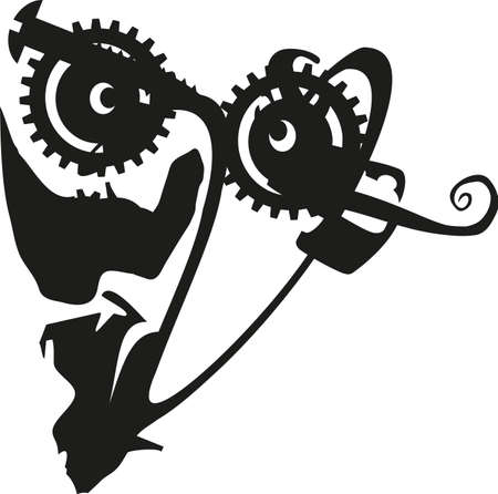 headpiece: Abstract Steam Punk Face Silhouette Vector