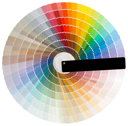 descriptive colour: Colorful circle swatch with facade colors isolated