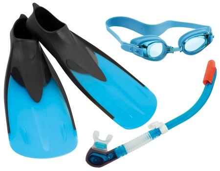 aletas: Aletas, gafas y esn�rquel aisladas sobre fondo blanco