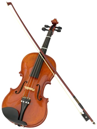 fiddles: Violin and fiddlestick isolated with clipping path