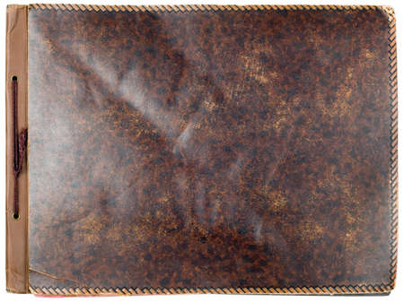 old photo album: Old photo album leather cover isolated on white background Stock Photo
