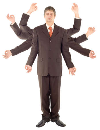 versatile: Versatile Spider Businessman isolated on white background Stock Photo