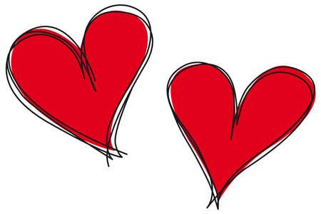 garabatos: Formas vectoriales editables coraz�n dibujado a mano en un estilo con el bloque de color