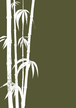 oriental vector: White silhouette grunge bamboo shoots on a khaki green background Illustration