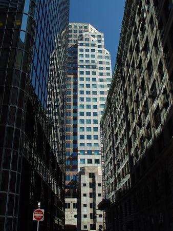 Downtown Boston reflective glass building near High Street. photo