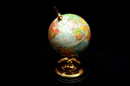 soviet union: Blue world globe on black with old Soviet Union.