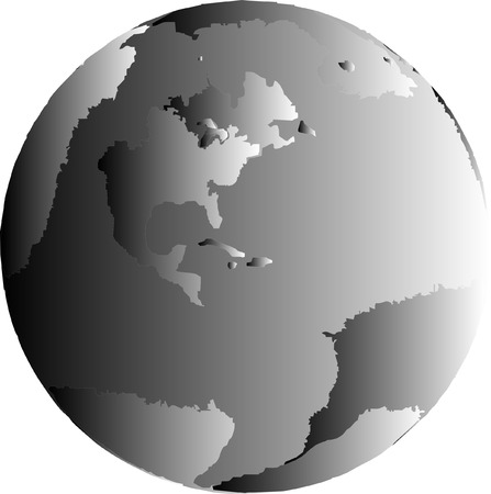grey: One grey gradient globe of the earth