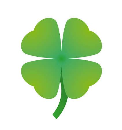 Four-Leaf Green Shamrock Clover Illustration