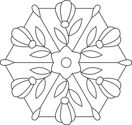 Vector outlines of floral stained glass on white background Vector