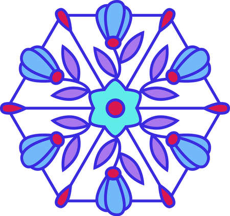 Multicolored floral stained glass Vector