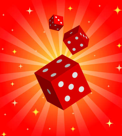 toke: Gambling illustration with red dices on shiny background