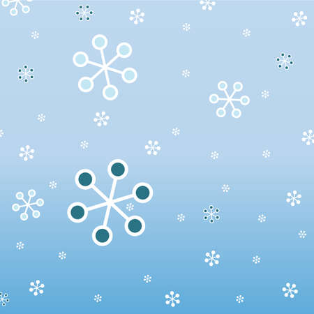 Vector seamless pattern with snowflakes on blue gradient background Vector