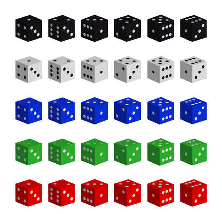 toke: Collection of vector multicolored dices on white background Illustration