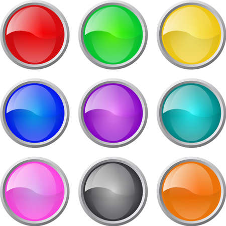 shiny button: Set of vector glossy web blank buttons Illustration