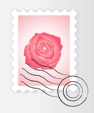 post stamp: Timbro postale con rosa Vettoriali