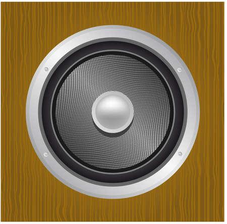 Audio speaker in wood Vector