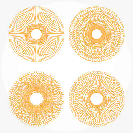 Spirograph patterns on a white background Illustration