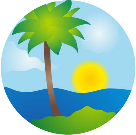 Summer palm island vector scene Vector