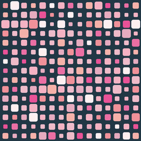 Pink square vector mosaic on dark background Vector