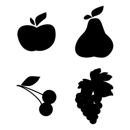 Set of vector fruit silhouette Stock Vector - 5137265